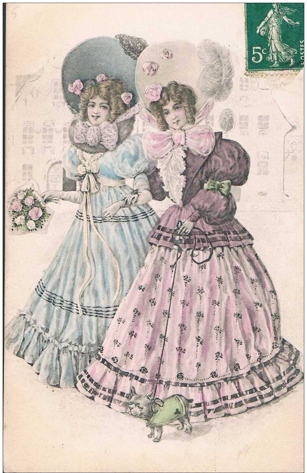 Carte Postale Ancienne - 2 Femmes - Dessin - Cartes Postales