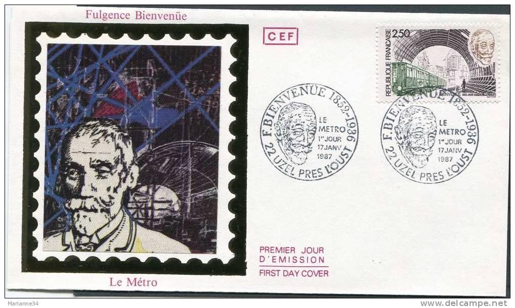 France-1er Jour (enveloppe) 1987-F.Bienvenüe,métropol Itain, Uzel Près L'Oust (sur Soie) - FDC