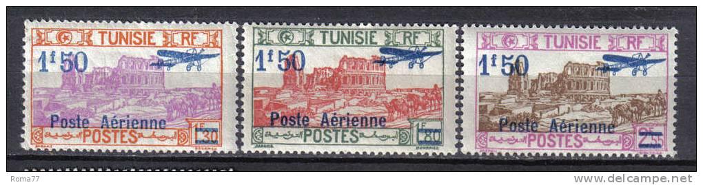 SS5621 - TUNISIA  , Posta Aerea  Yvert N. 10/12  */** - Tunisia (1888-1955)