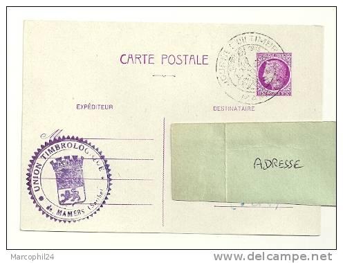 CHEVAL + POSTE ANCIENNE = 72 MAMERS 1945 = CACHET JOURNÉE Du TIMBRE Illustré D´un Cavalier / - Chevaux