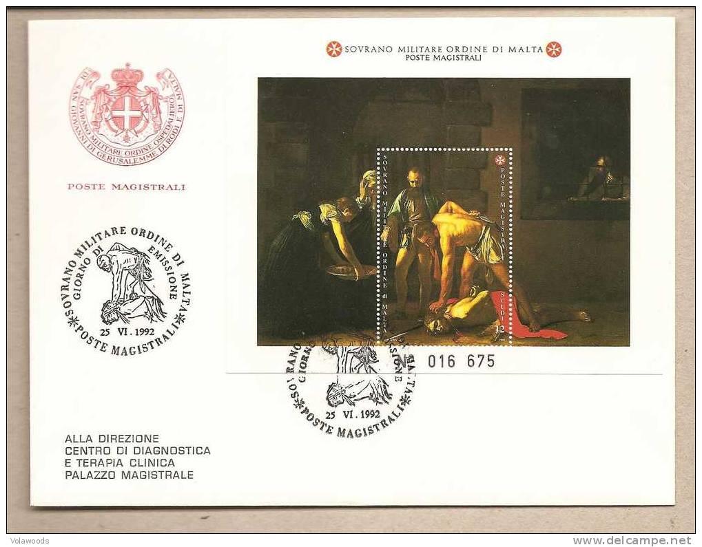 SMOM - Busta FDC Con Foglietto: San Giovanni Battista - Dipinto Del Caravaggio - 1992 - Malte (Ordre De)
