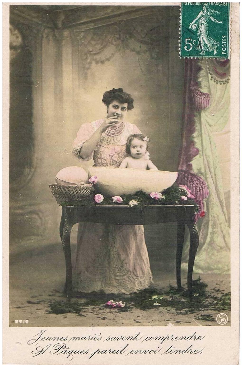 Carte Postale Ancienne - Pâques - Femme Et Bébé - Pascua