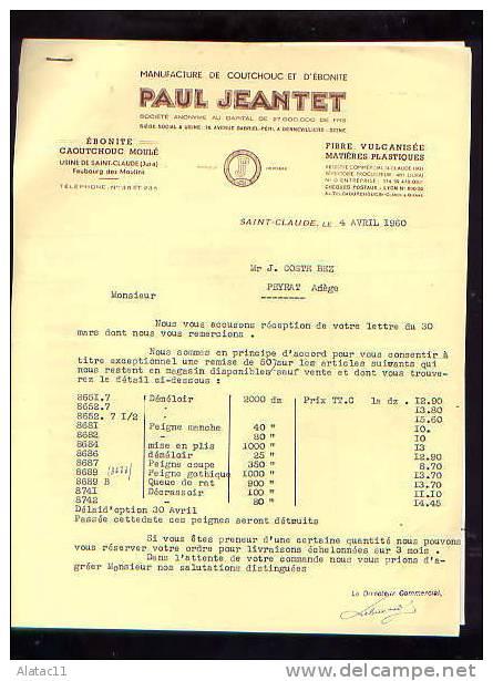 SAINT  CLAUDE     -      PAUL  JEANTET   MANUFACTURE  CAOUTCHOUC  ET  EBONITE    1960 - France