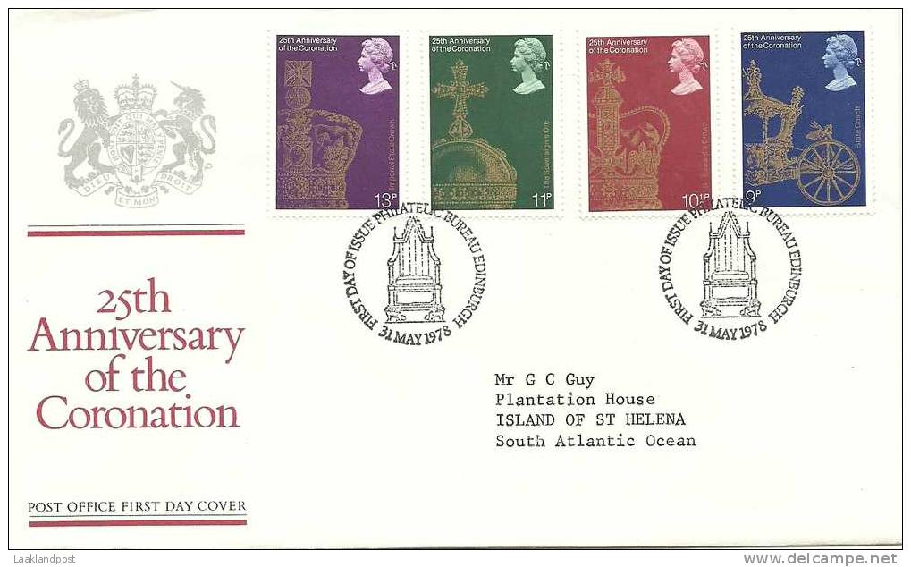 GB FDC TO St. HELENA 25th ANNIVERSARY OF THE CORONATION (Michel Nrs 765/768) - Koniklijke Families