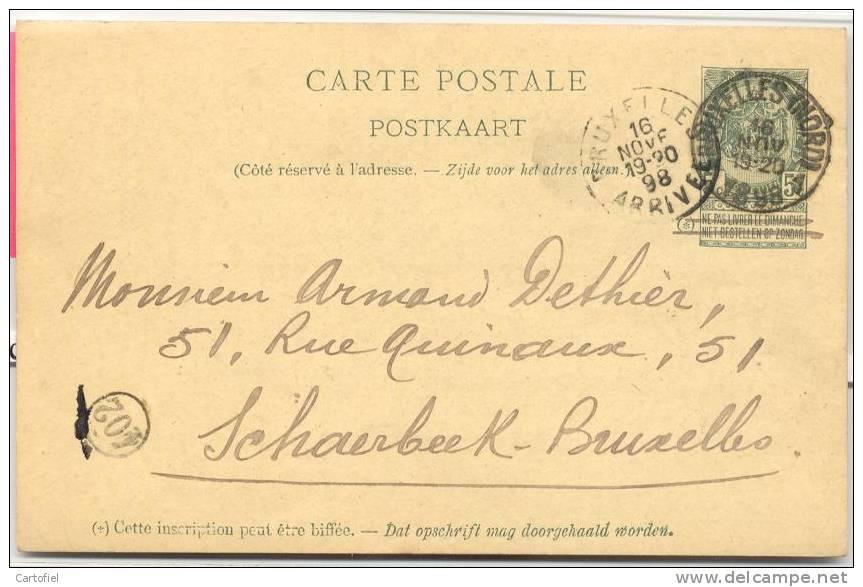 WAREGEM-PRIVESTEMPEL-JEAN   CHARLIER-AGENT DU JOURNAL-WAEREGEM NAAR BRUXELLES-NORD-1898-2 SCANS - Waregem