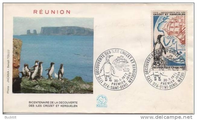 REUNION CFA Poste 407 FDC Premier Jour Crozet Kerguelen Pôle Taaf Antarctique Manchot 1772 - Reunion Island (1852-1975)