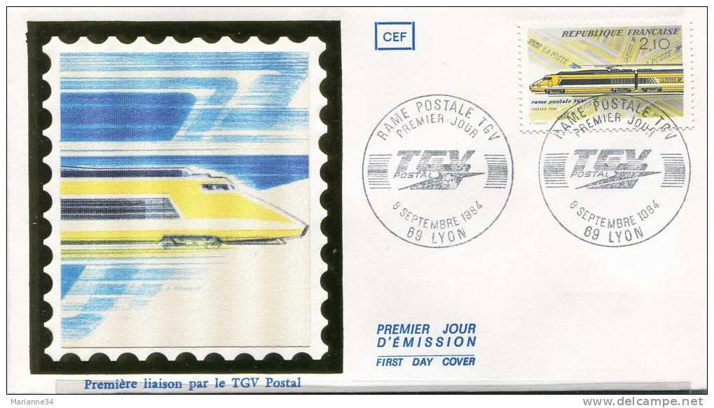 France-1er Jour (enveloppe) 1984-TGV Postal (sur Soie) - FDC