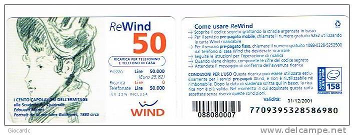 ITALIA - C.&C.1125 - WIND GSM - 50 ERMITAGE: E. MANET   (PORTRAIT M.ME J. GUILLERMET ) 31/12/2001 -USATA - Italia