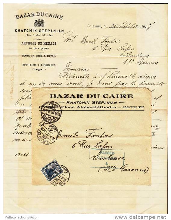 Enveloppe EGYPTE Du Caire Pour La France Avec Cachet De Censure 1917 - Égypte