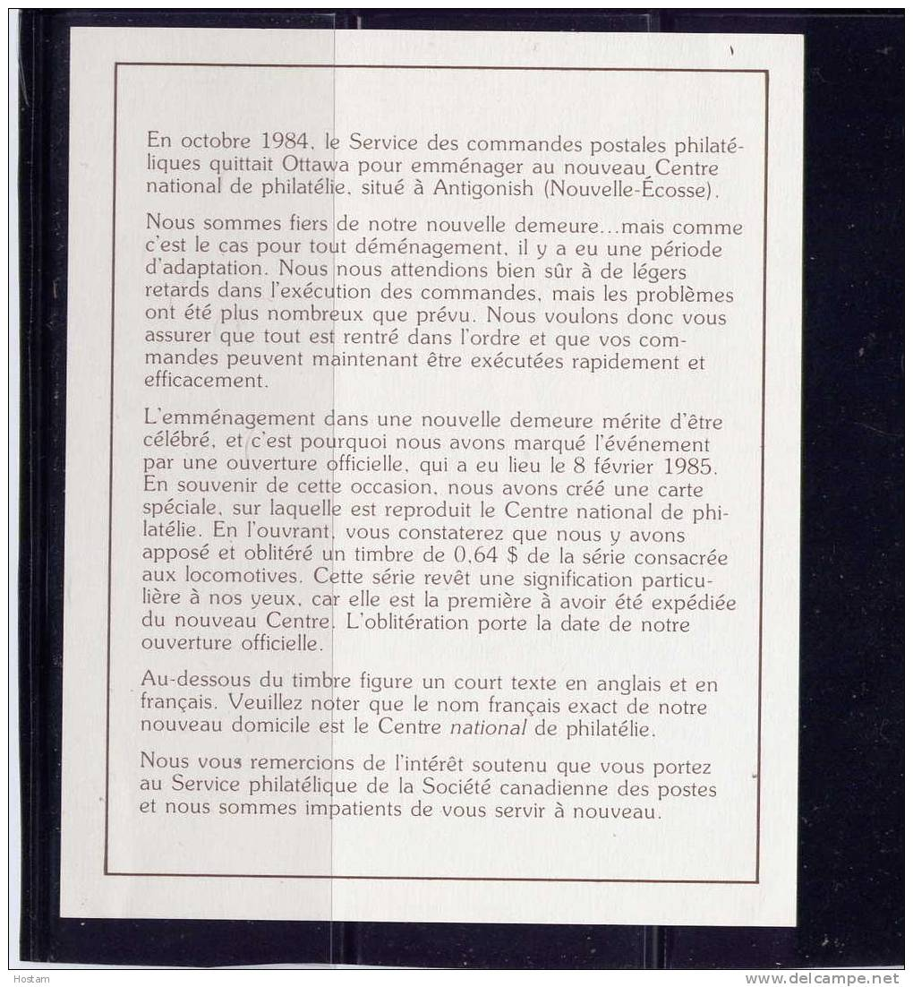 CANADA,1984. FOLDER IN SOUVENIR OF THE OPENING CPC´S NATIONAL PHILATELIC CENTRE IN ANTIGONISH, NS - Cartes Illustrées Officielles