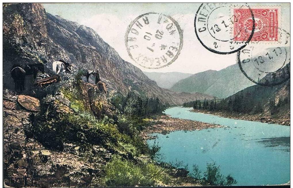 """Carte Postale Ancienne - Lieu De Débarquement """"Jouchtiner"""" De La Rivière Altaï - Rusia"""