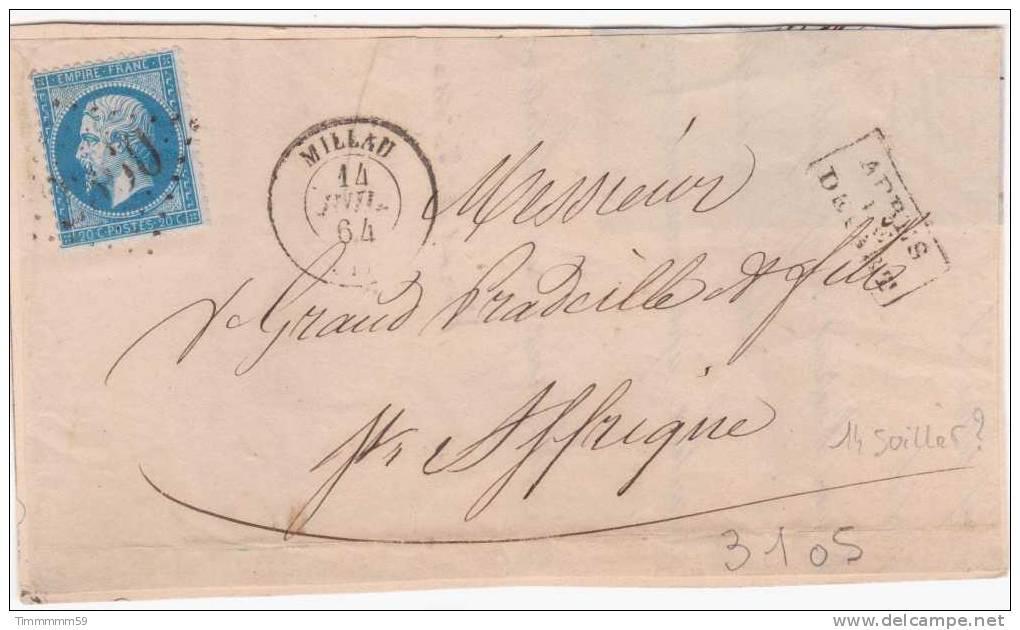 LT3105  N°22/devant, Oblit GC 2360 MILLAU (11), Ind 2 Pour ST AFFRIQUE Du 14 Juil 1864 - 1862 Napoleone III
