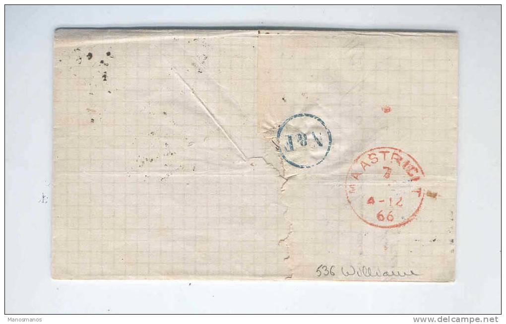 094/17 - Lettre TP 17 à 10 C Losange De Points 217 - TARIF FRONTALIER LIEGE 1866 Vers MAESTRIVHT - 1865-1866 Profile Left