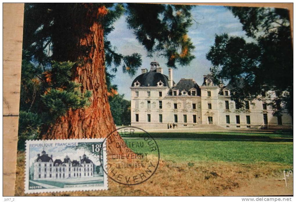 CM N° 980 MF B1 - 1ER Jour  Chateau De  Cheverny Juin 1954 - Maximum Cards