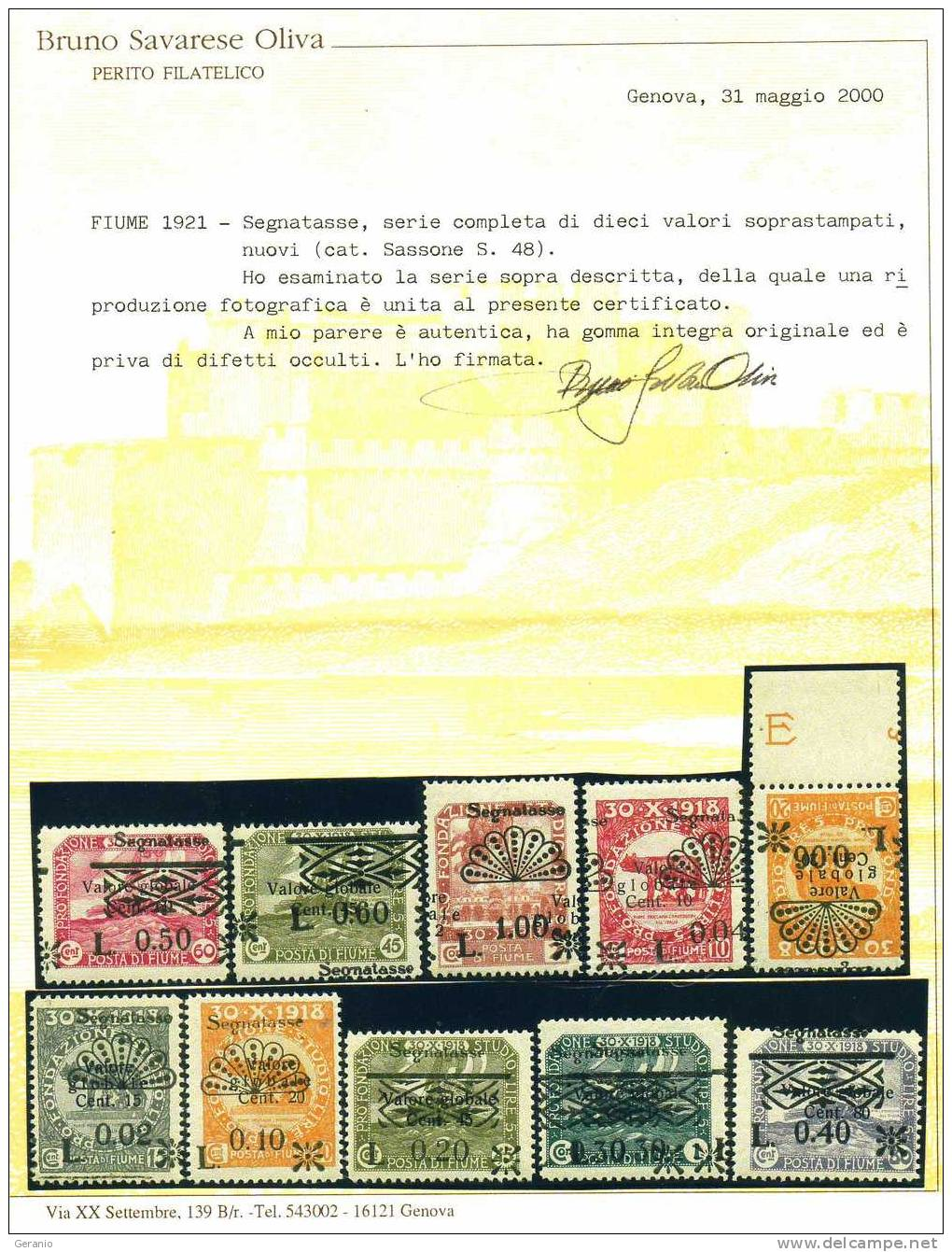 SEGNATASSE 1921 SERIE COMPLETA CERTIFICATA  VALORE SASSONE2011  11.000 EURO - Fiume