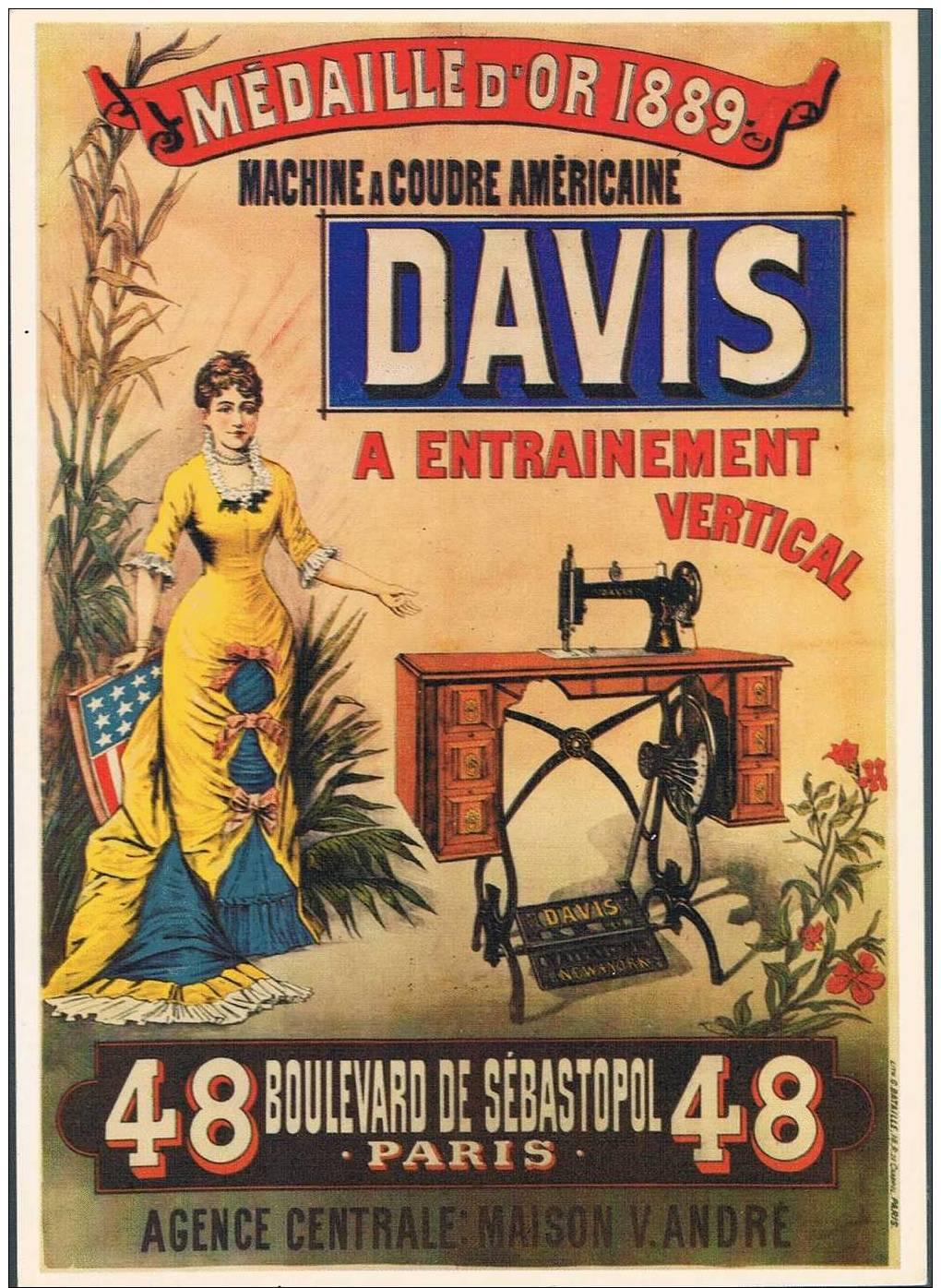 Publicité Sur Carte - Machines A Coudre DAVIS - Publicidad