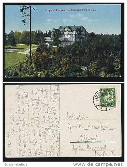 A551) Ansichtskarte Berghotel Gabelbach Bei Ilmenau 1926 Farbig - Ilmenau