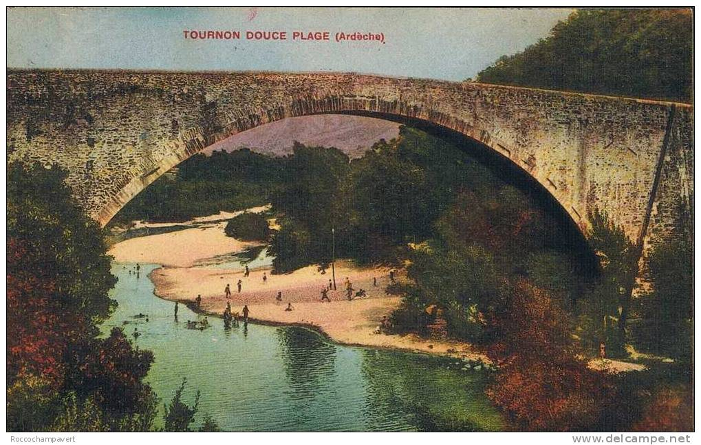 Carte Postale Ancienne - ARDECHE - Tournon Douce Plage - Couleur - Tournon