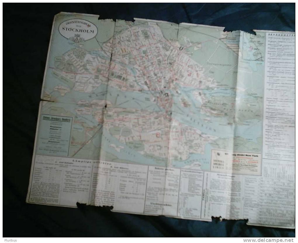 1923 VINTAGE SWEDEN STOCKHOLM MAP - Maps