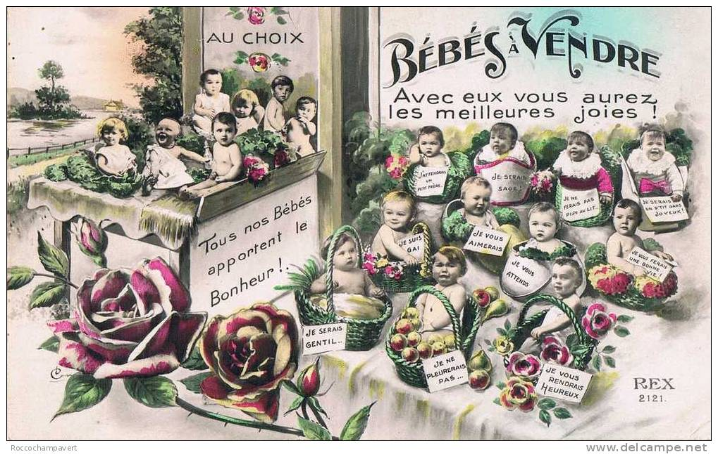 Carte Postale Ancienne - HUMOUR - Bébés à Vendre - Humor