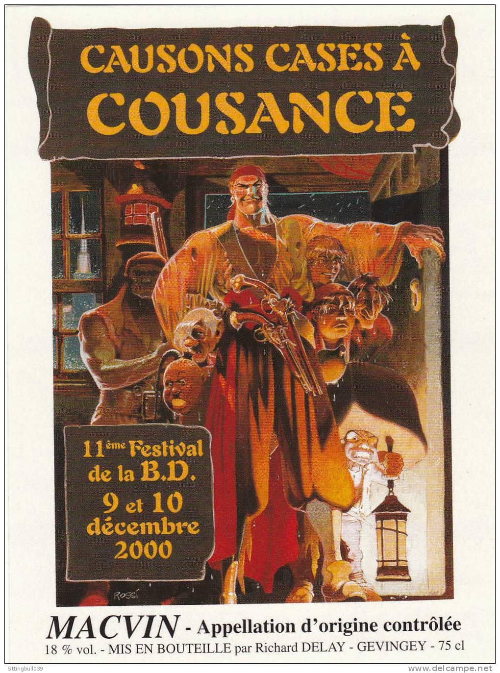 ROSSI. Etiquette De Vin Autocollante Pour Le 11e Festival BD à COUSANCE En 2000. Jura. - Objets Publicitaires