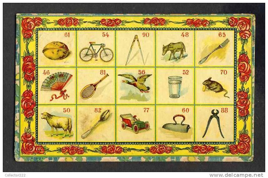 Carton Provenant Probablement D´un Ancien Jeu De Loterie D´enfants. Velo, Oie, Tennis, Souris, Eventail (Ref.89781) - Vieux Papiers