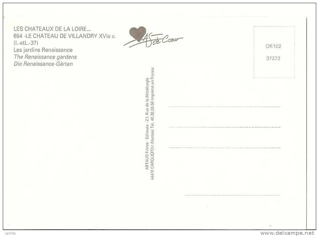 Dép. 37 - LE CHATEAU DE VILLANDRY. - Ed. ARTAUD Frère - N° 654 - Non Classés