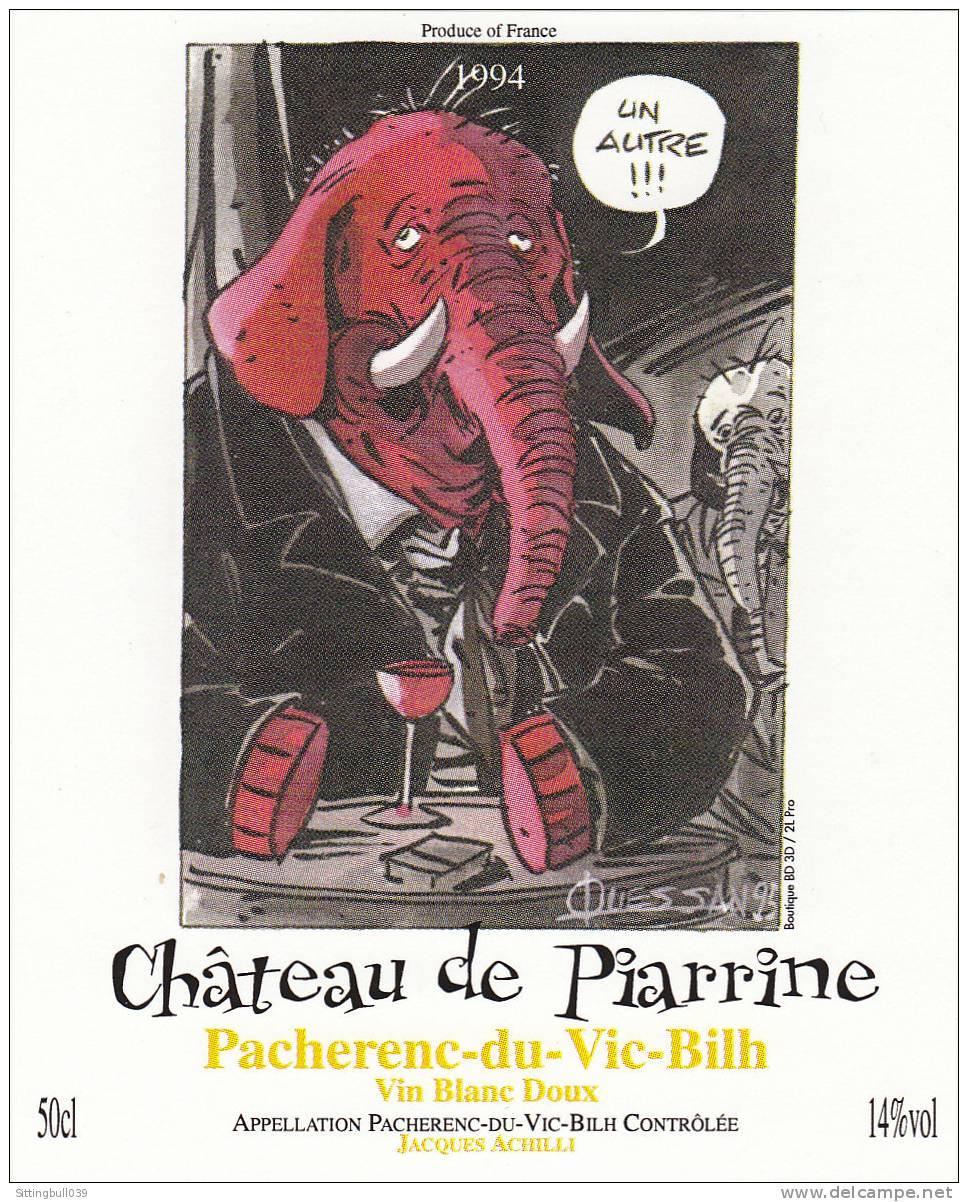 N'GUESSAN. Etiquette De Vin 1995 Pour Le Château De Piarrine. Pacherenc-du-Vic-Bilh 1994. Vin Blanc Doux. - Objets Publicitaires