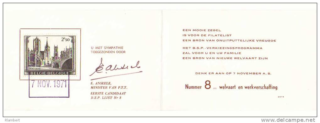 OBC 1594 Op Kaart Handtekening E.Anseele 07/11/1971 (R1101) - België