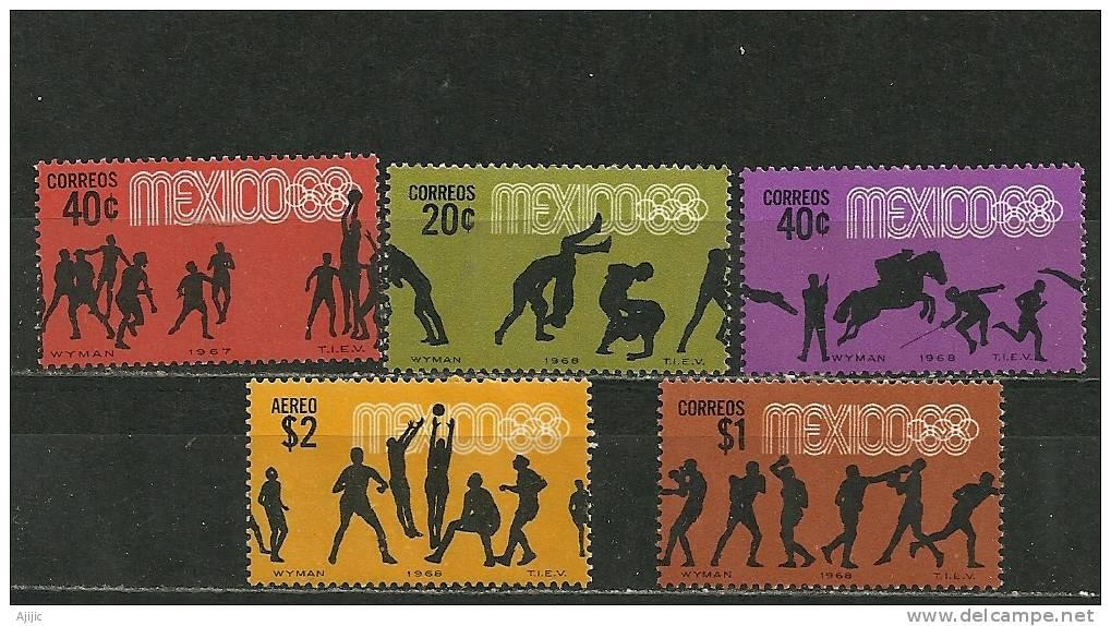 Jeux Olympiques Mexico 1968. 5 T-p Neufs ** - Ete 1968: Mexico