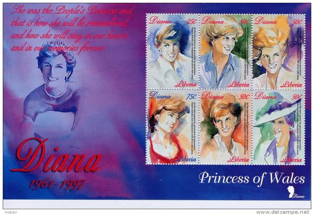 LIBERIA ,  PRINCESS OF WALES, LADY DIANA, SS #1,  M NH, BEAUTIFULL - Liberia