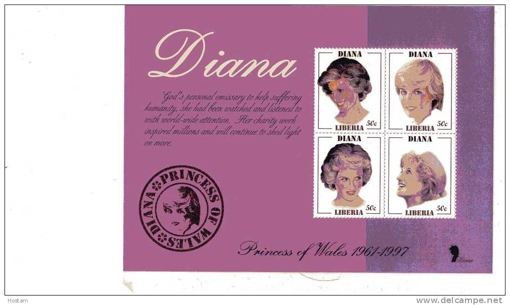 LIBERIA ,  PRINCESS OF WALES, LADY DIANA  SS #4,  M NH, BEAUTIFULL - Liberia