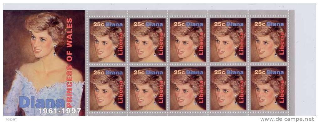 LIBERIA ,  PRINCESS OF WALES, LADY DIANA,  SS #5,  M NH, BEAUTIFULL - Liberia
