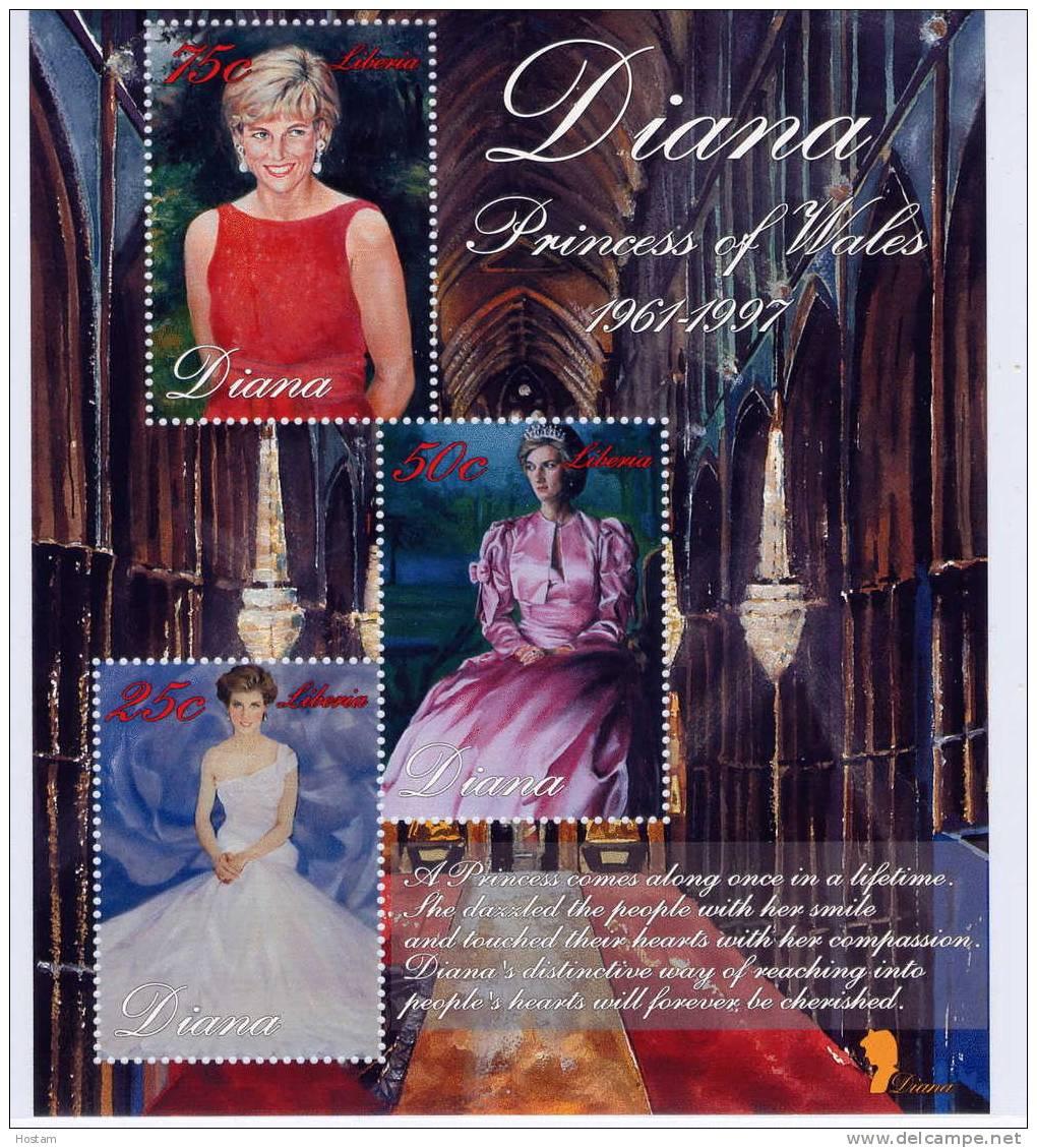 LIBERIA ,  PRINCESS OF WALES, LADY DIANA,   SS #6,  M NH, BEAUTIFULL - Liberia