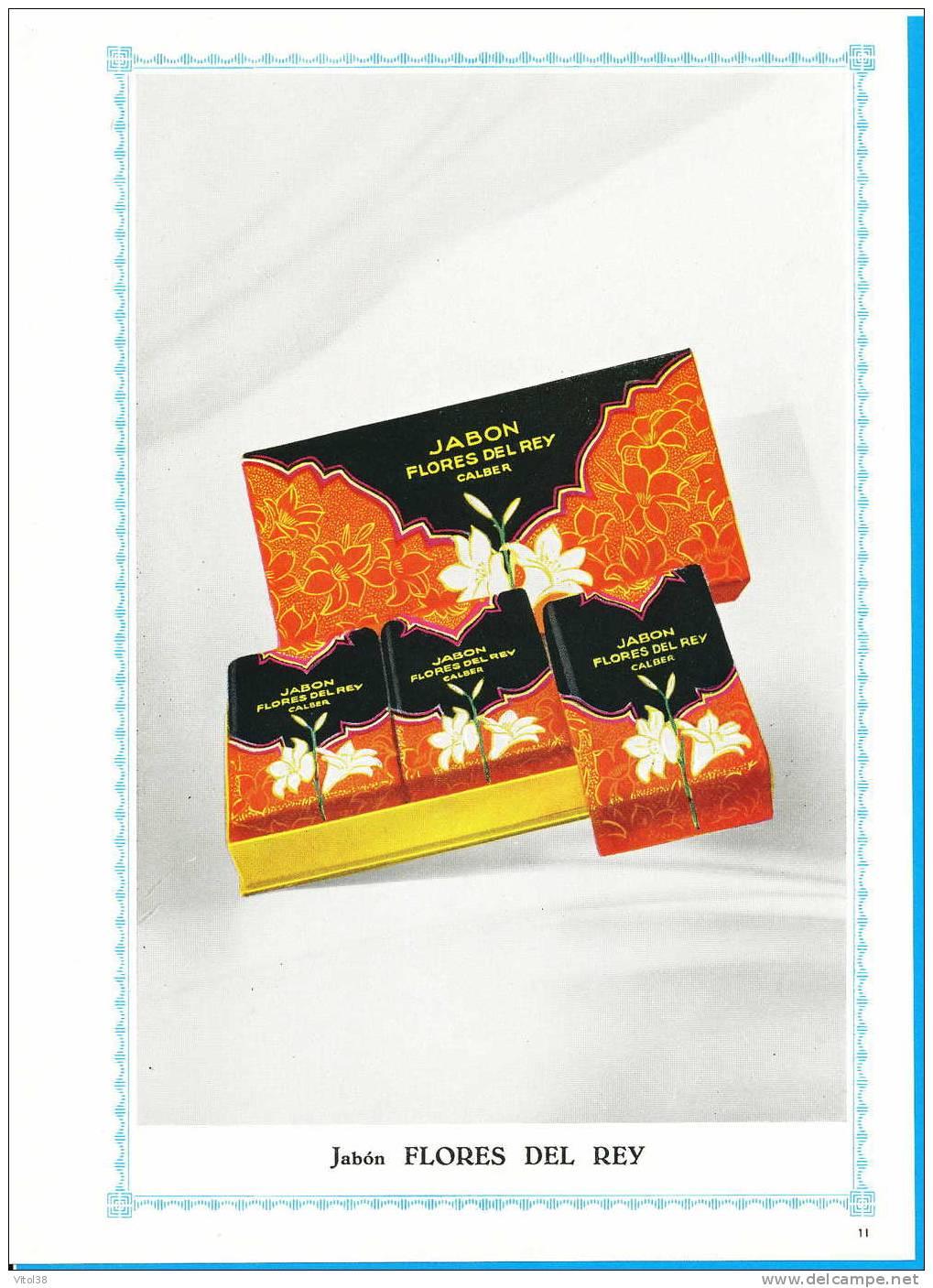 1 FICHE RECTO VERSO PARFUMERIE CALBER . JABON FLORES DEL REY . JABON ORIENTES FLORIDO . SAVON - Catalogues