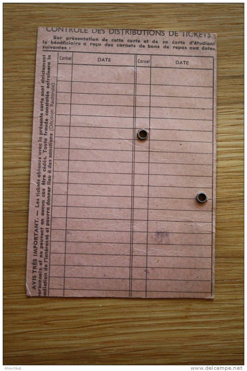 CARTE D'ETUDIANT  D'ADMISSION AU BENEFICE OEUVRES UNIVERSITAIRES  > ACADEMIE AIX MARSEILLE  LE 10-11-1961 - Unclassified