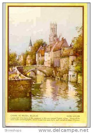 Canal At Bruges Begium Flemish Village Belfry Noel Leaver Postcard Blotter - Blotters