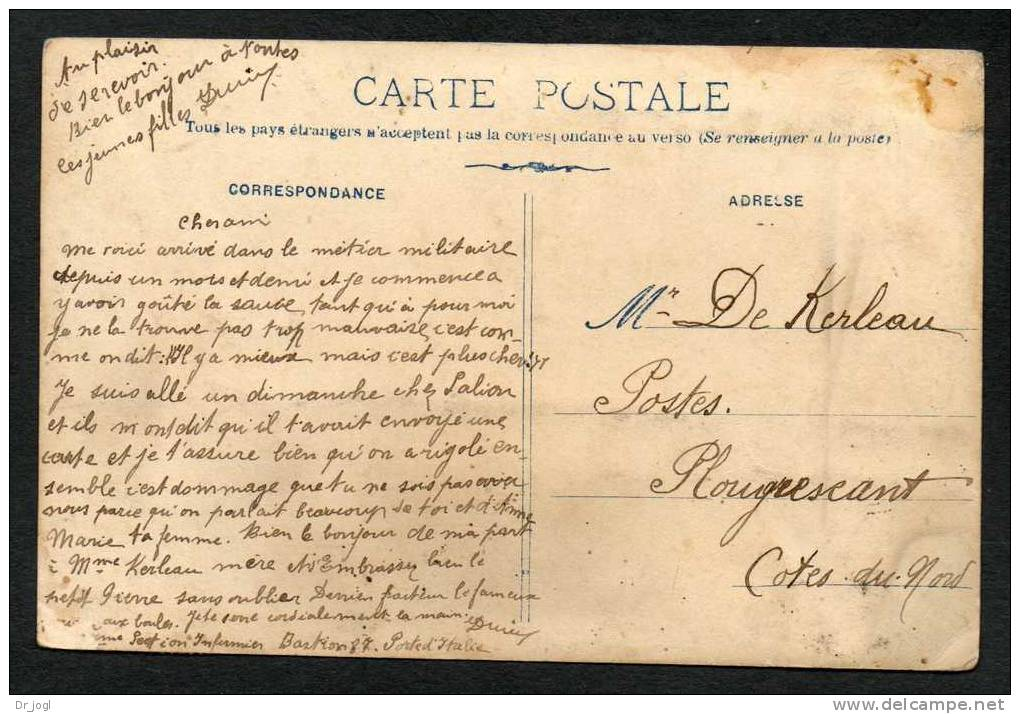 FR784) Paris - Two Men In Uniform - Real Photo Postcard - 1906 - See Close-up Scan - France