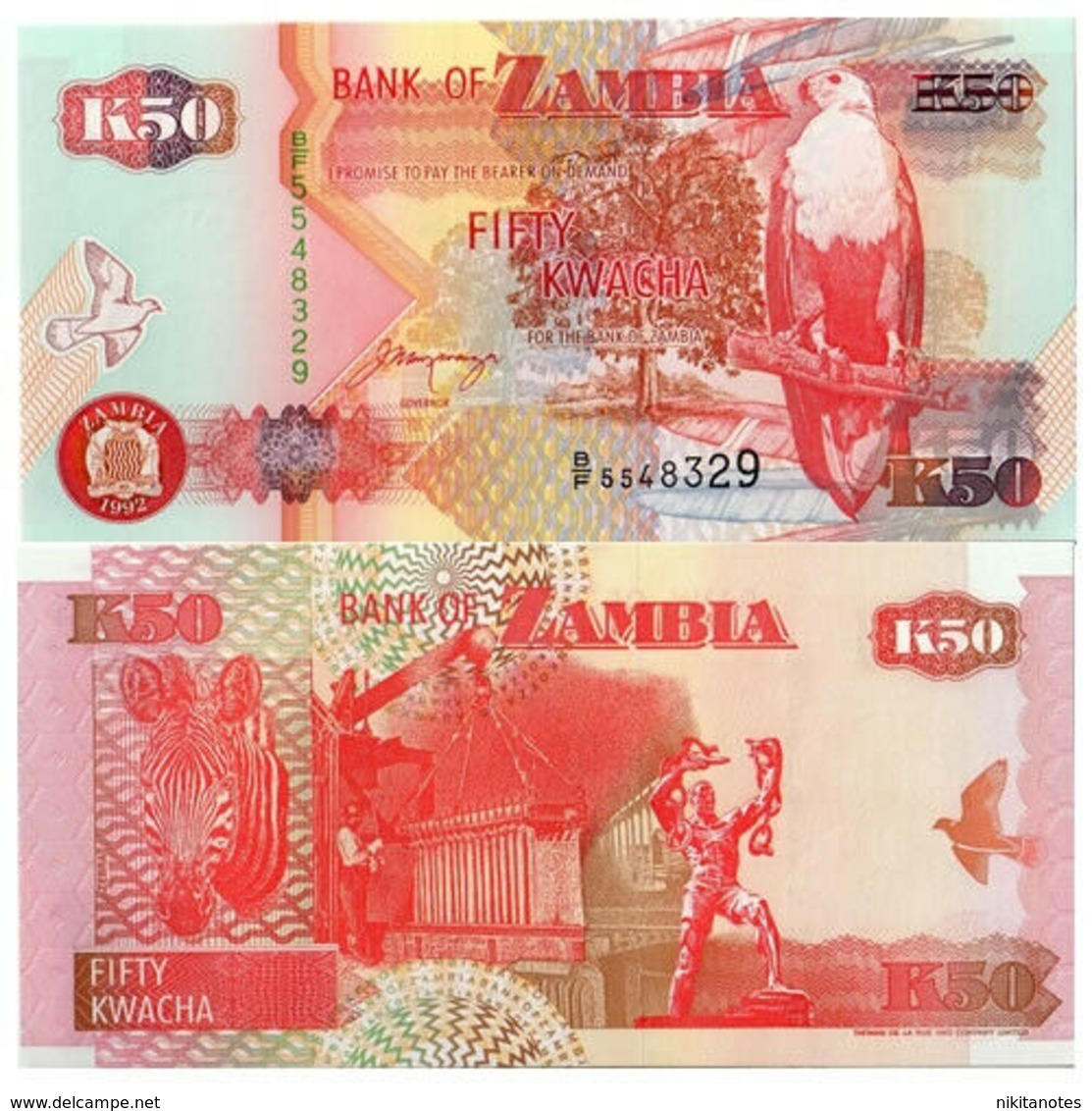 ZAMBIA - 50 Kwacha 1992 FDS - UNC - Zambie
