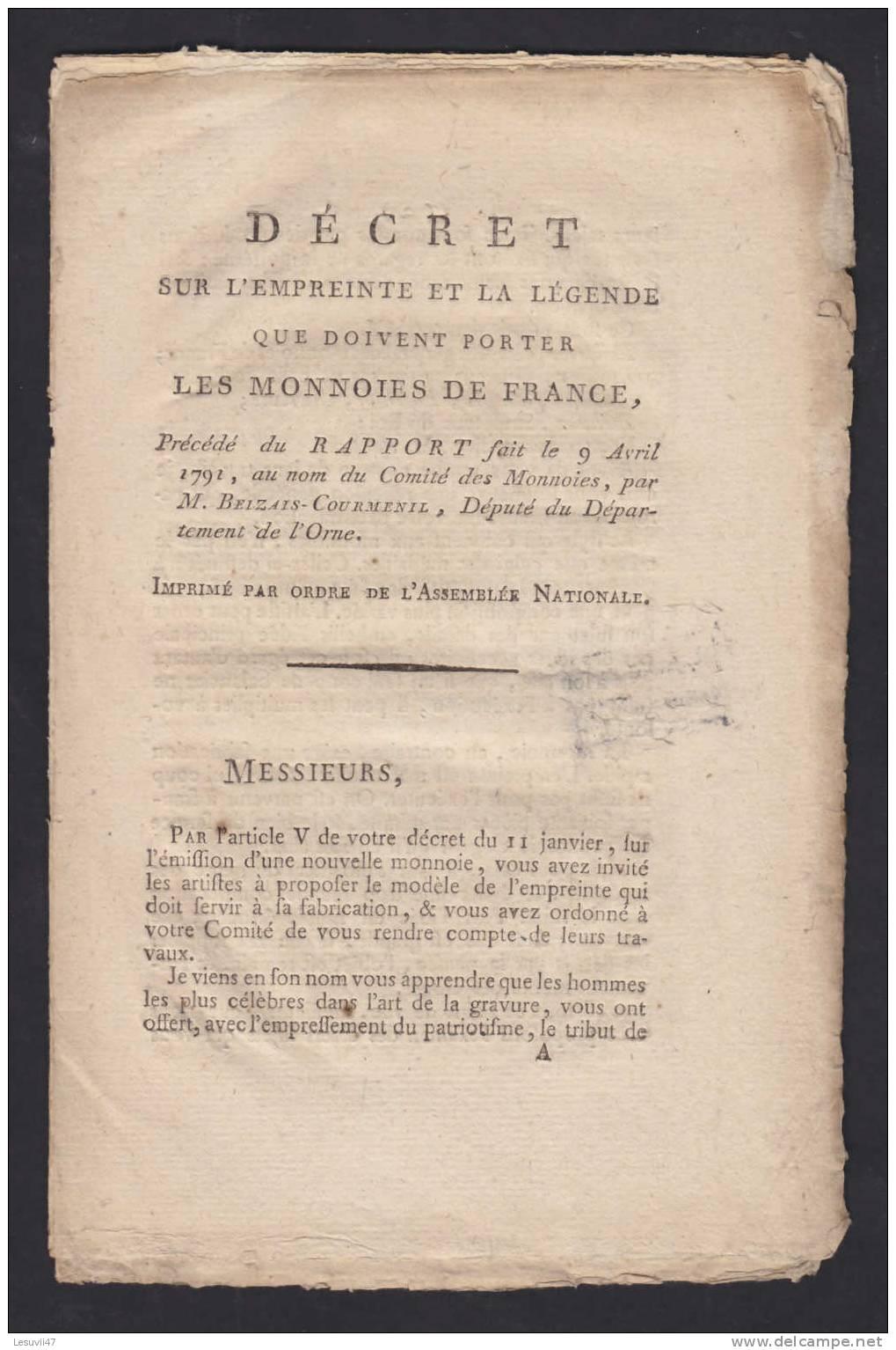 """Décret Sur L´empreinte Et La Légende Que Doivent Porter """" Les Monnoies De France """", 9 Avril 1791. - Livres & Logiciels"""