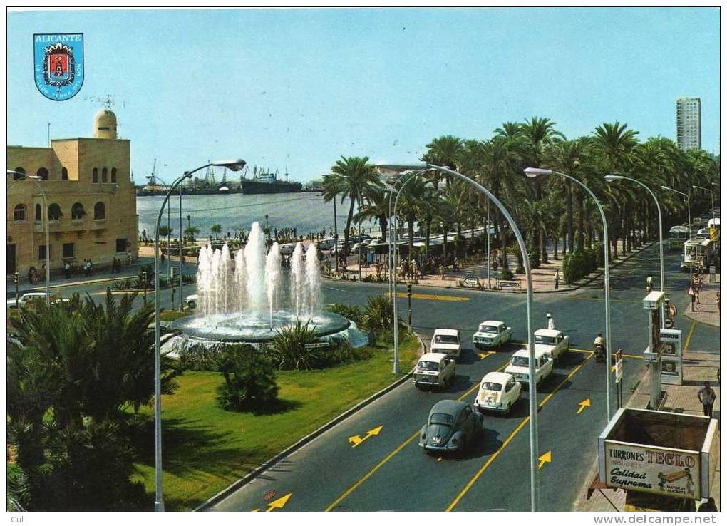 Espagne-Alicante-Plaza Del Mar Y Explanada Place De La Mer (auto Voiture Dont VW Coccinelle-Fiat -année 1972)*PRIX FIXE - Alicante