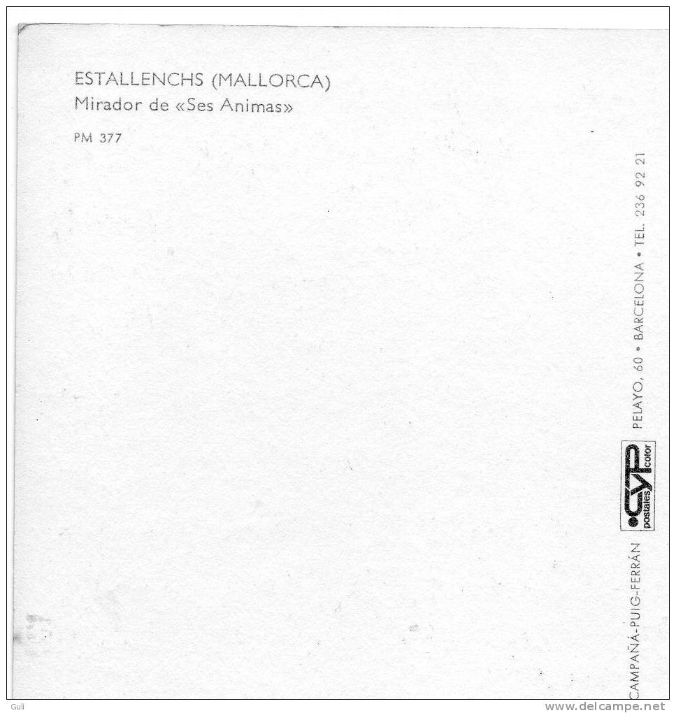 """Espagne > Islas Baleares > Mallorca- ESTALLENCHS-Mirador De """"Ses Animas""""   (Scooter -auto Voiture)*PRIX FIXE - Mallorca"""