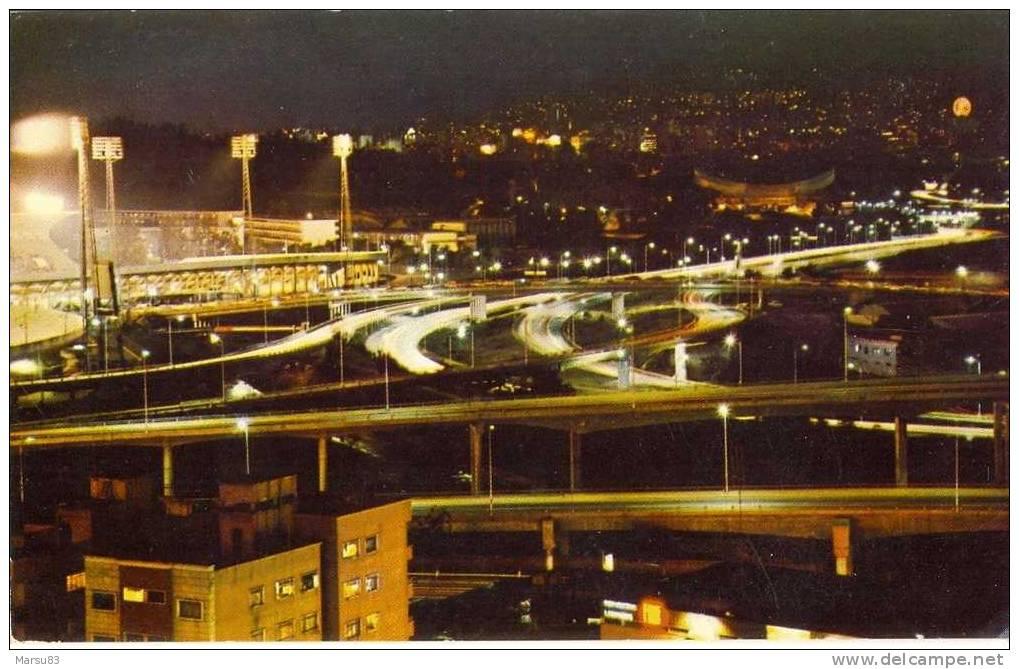 """Caracas- """"El Pulpo"""" Vista Nocturna ** Carte NEUVE** - Ed Santiago CA  N°600 - Venezuela"""
