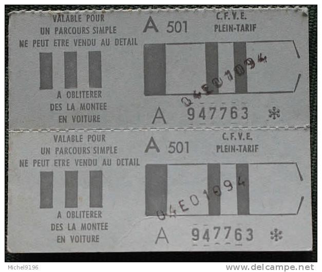 Billet Double Cartonné C.F.V.E St Etienne  Coll Schnabel - Bus