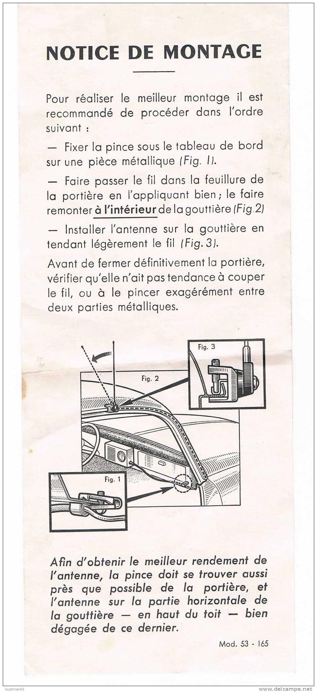 Notice De Montage D´antenne De Gouttière Pour Autoradio (années 60) - Cars