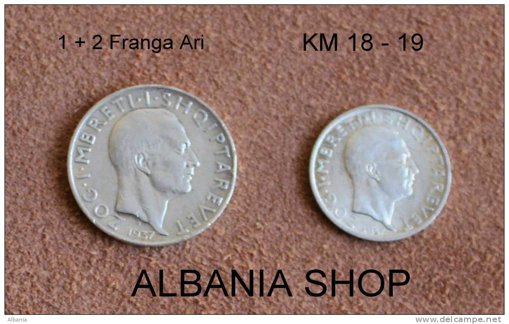 Albanien Albania Albanie  1+ 2 Franga Franchi KM # 18 + 19 1937  INDEPENDENCE Aniversari  Sonder Ausgabe  XXF  King ZOGU - Albania