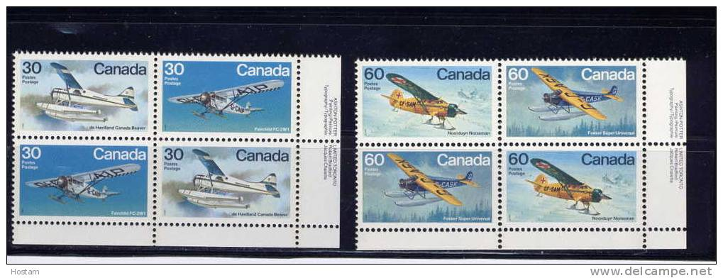 CANADA, 1982, # 970a-72a-, BUSH  AIRCRAFT,  PAIR OF  BLOCKS  LR      M NH - Blocs-feuillets