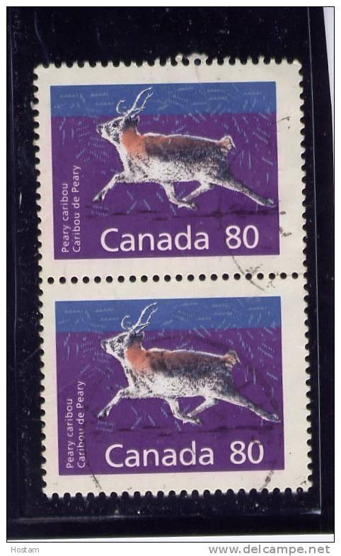 CANADA, 1989, # 1180c, MAMMAL DEFINITIVES  LOW VALUE: CARIBOU  PAIR  Used - Oblitérés