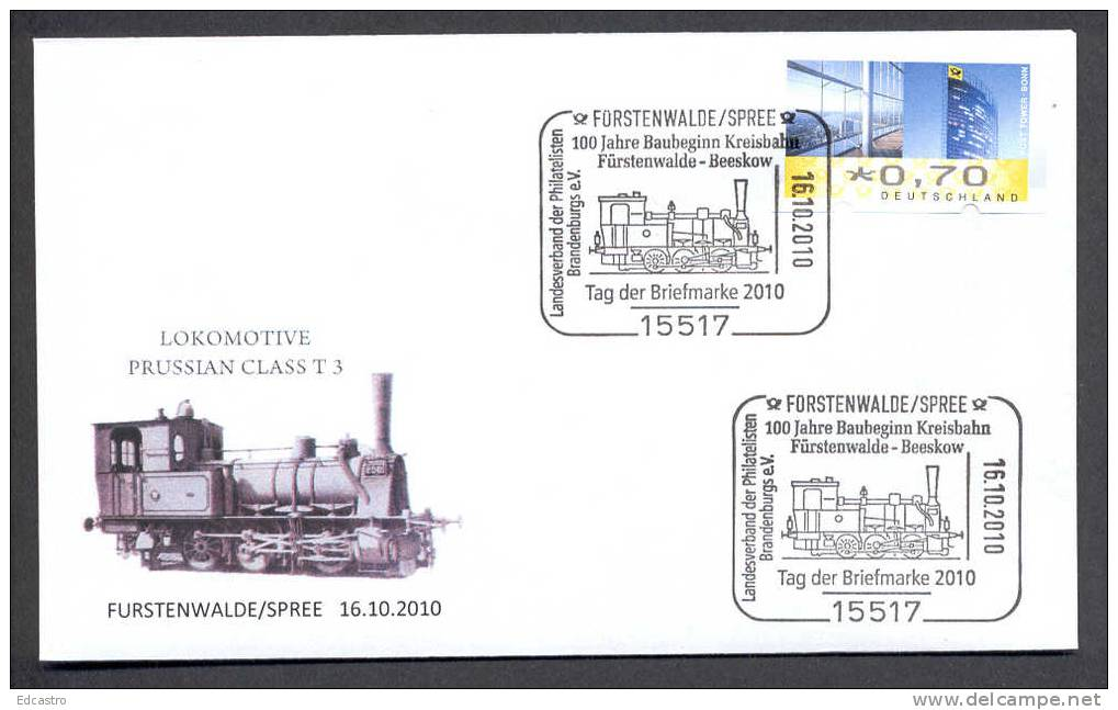 GERMANY 2010. SPECIAL POSTMARK. RAILWAYS. LOCOMOTIVE PRUSSIAN CLASS TYPE T 3, TRAINS - Trains