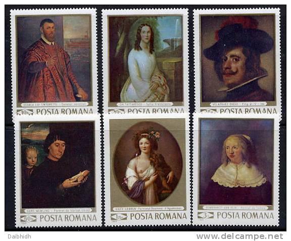 ROMANIA 1969 Portrait Paintings Set MNH / **  Michel 2796-801 - 1948-.... Republics